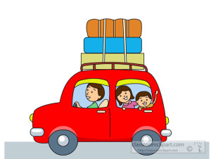 family road trip in car with luggage rack clipart